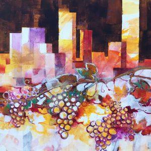 Uva e Torri - Acrilici e pastelli su legno, 60x60 cm